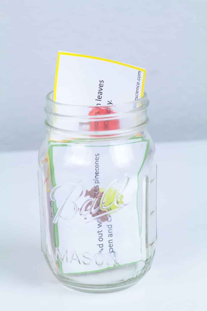 fall STEM challenge cards in a mason jar