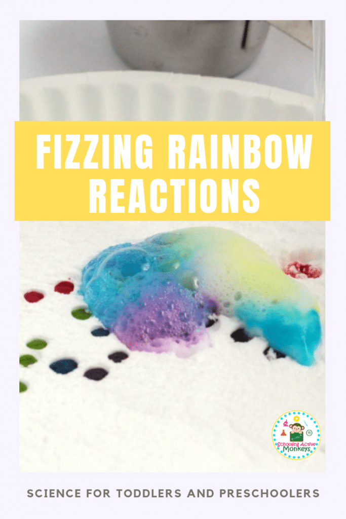 Want to know the baking soda and vinegar reaction explanation? Try the fizzing rainbow experiment perfect as toddler science and preschool science experiments! #toddleractivities #preschoolactivities #stemactivities #scienceexperiments