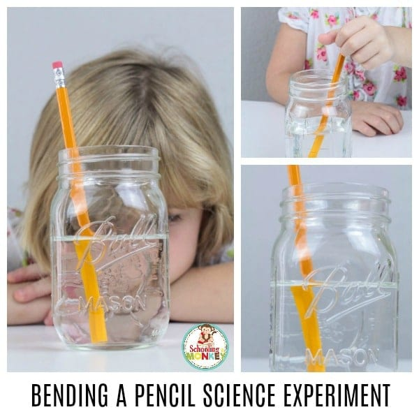 The pencil in water experiment is so much fun for kids! Learn about light refraction science all in a jar! #stemed #jarringscience #handsonlearning #steamactivities #scienceexperiments