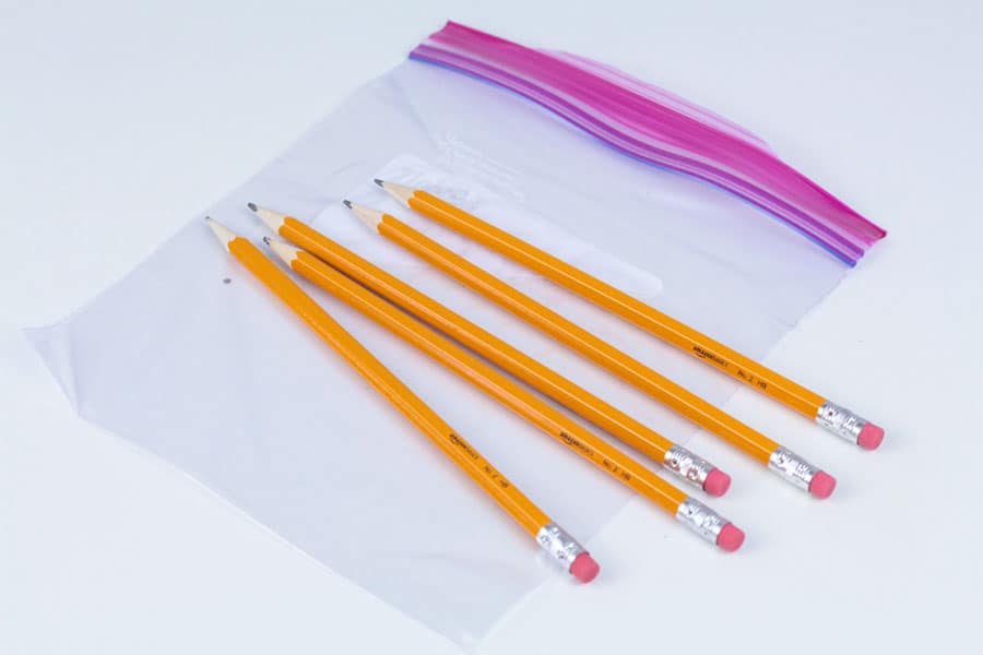 Pencils and plastic bags for the leak proof bag science experiment