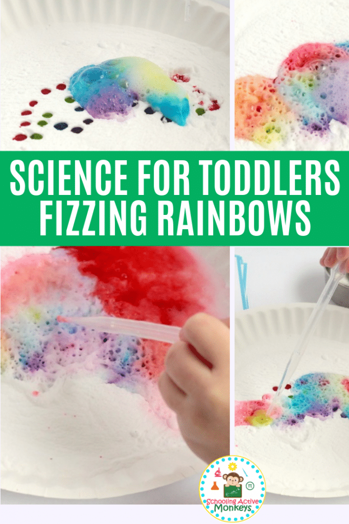 Why does baking soda and vinegar fizz? Try the fizzing rainbow experiment perfect as toddler science and preschool science experiments! #toddleractivities #preschoolactivities #stemactivities #scienceexperiments