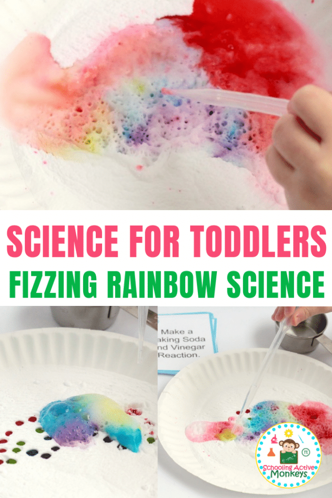 Want to teach the baking powder and vinegar reaction in a fun way? Try the fizzing rainbow experiment perfect as toddler science and preschool science experiments! #toddleractivities #preschoolactivities #stemactivities #scienceexperiments