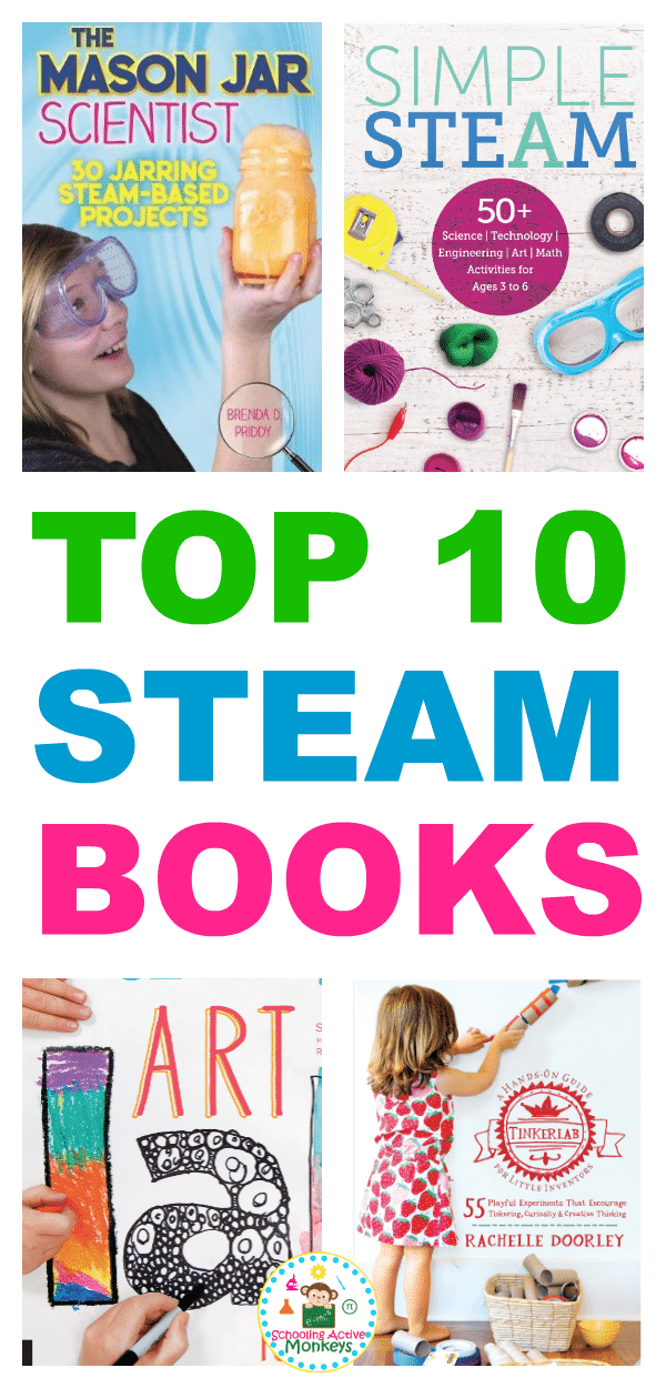 Encourage a love of STEAM activities in your kids with these top STEAM books! Each STEM book is filled with hands-on STEAM activity ideas that kids will love. The perfect gift guide for STEM lovers and gift ideas for kids who love STEAM! #stemactivities #steam #handsonlearning #scienceexperiments #giftguide