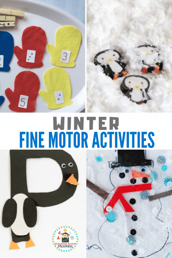 These winter fine motor activities for preschool build fine motor skills and provide a fun way to practice fine motor activities for preschool! #preschool #finemotoractivities #finemotor #preschoolactivities #winteractivities