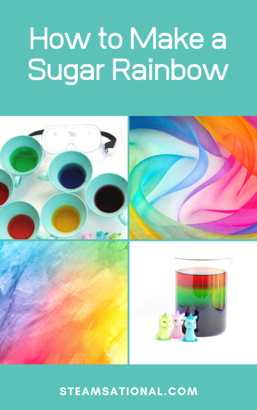 This sugar rainbow density tower is not only a fun project to make, but it also teaches kids about the density of sugar.