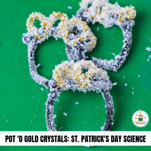 Do you love chemistry science experiments? You'll love this experiment on how to grow crystals with salt. This St. Patrick's Day science experiment gives a lucky twist on a classic science experiment for kids! #stemed #stemactivities #stpatricksday #stpatricksdayactivities #scienceexperiments