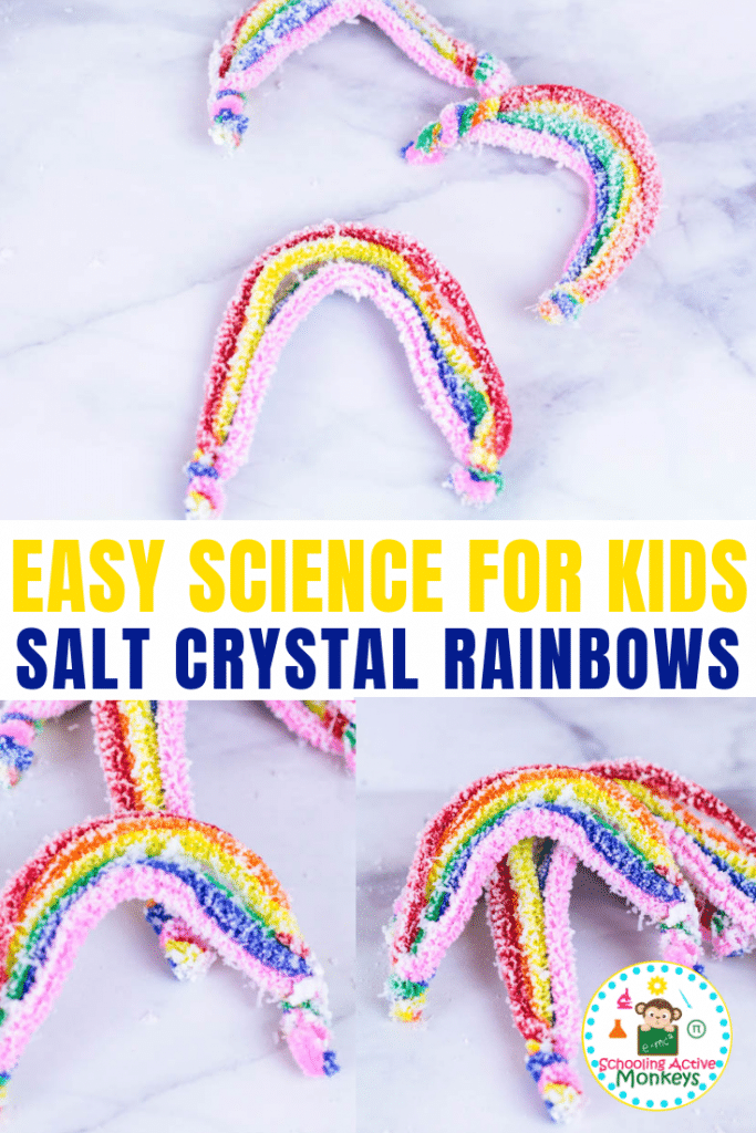 If you love science and love rainbows, then you'll love making these salt crystal rainbows! Learn how to make salt crystals following these easy instructions! Perfect for St. Patrick's Day science! #stemed #stemactivities #science #scienceexperiments #stpatricksday #stpatricksdayactivities