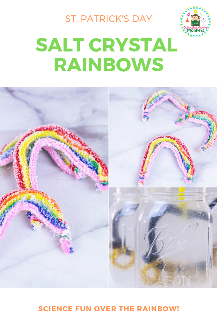 If you love science and love rainbows, then you'll love making these salt crystal rainbows! Learn how to make crystals without borax following these easy instructions! Perfect for St. Patrick's Day science! #stemed #stemactivities #science #scienceexperiments #stpatricksday #stpatricksdayactivities