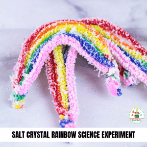 If you love science and love rainbows, then you'll love making these salt crystal rainbows! Learn how to make crystals fast without borax following these easy instructions! Perfect for St. Patrick's Day science! #stemed #stemactivities #science #scienceexperiments #stpatricksday #stpatricksdayactivities