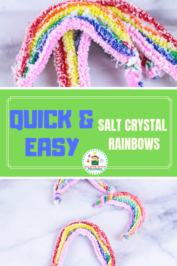 If you love science and love rainbows, then you'll love making these salt crystal rainbows! Learn how to make easy salt crystals following these easy instructions! Perfect for St. Patrick's Day science! #stemed #stemactivities #science #scienceexperiments #stpatricksday #stpatricksdayactivities