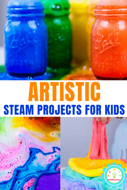 These STEM art projects provide a fun STEM-focused way to learn art and design. These bright and colorful STEAM activities for kids put the art into STEAM! #steamactivities #stemactivities #stemed #stem #kidsactivities