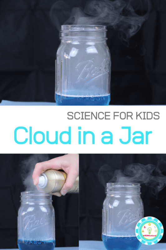 "Want an easy way to teach kids how clouds form? This simple science experiment for kids on how to make a cloud in a jar is the perfect ""wow"" demonstration."