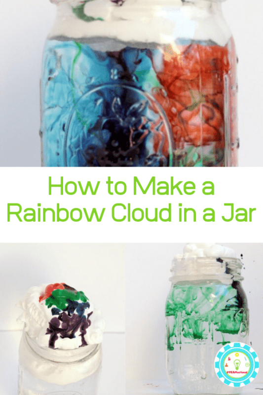 If you've ever had a kid ask you how rain works, you can show them easily with this rain in a jar rain cloud science experiment! It's the perfect addition to your spring STEM activities! Make a raining rainbow right at home!