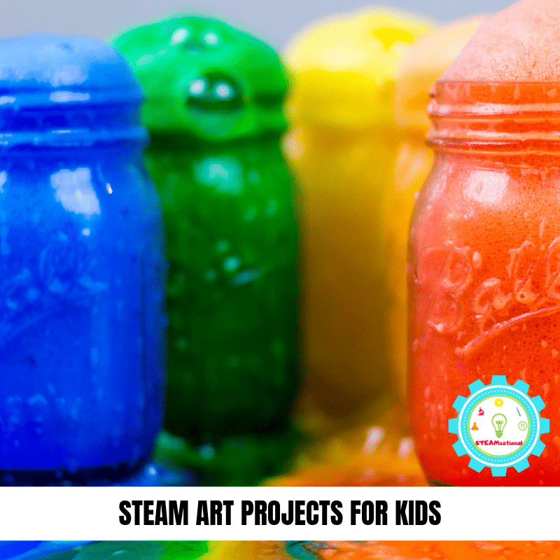 STEAM art lessons provide a fun STEM-focused way to learn art and design. These bright and colorful STEAM activities for kids put the art into STEAM! #steamactivities #stemactivities #stemed #stem #kidsactivities