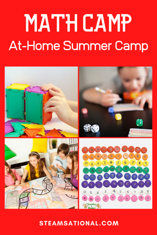 Summer camps can get expensive, so why not make your own? Grab your kids, grab some friends, and host this super-fun at-home math camp filled with math camp activities and learn while having fun.