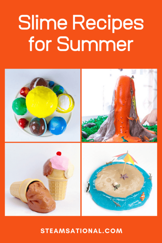 Slime recipes for summer include fun themes like ice cream, red white and blue, and ocean slime! Kids will have a blast making these tested and foolproof summer slime recipes that are safe for kids and tons of fun.