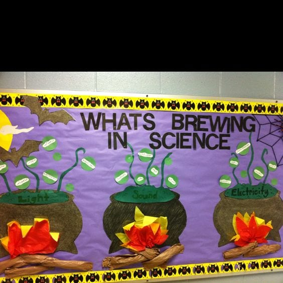 "A science classroom bulletin board that says ""what's brewing in science"" with cauldrons on fire below."