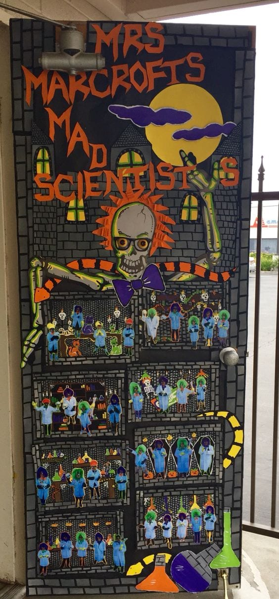"A classroom door decoration idea for Halloween that says ""ms teacher's name mad scientists!"" the door has pictures of the students on it."