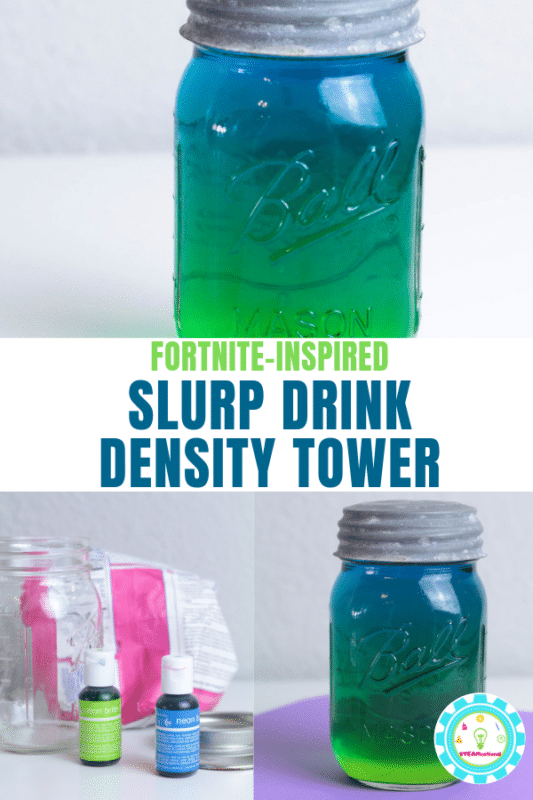 You may have tried a salt water density experiment, but this time, try a sugar density experiment with this Fortnite slurp drink water density experiment! #stemactivities #fortnite #steamactivity #stemed #science #kidsactivities