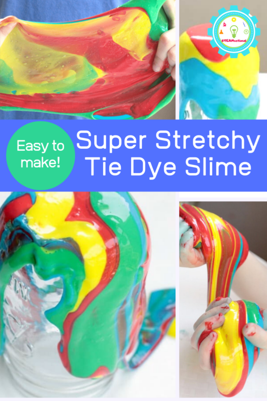 Learn How to Color Slime with Food Coloring using this simple tie dye slime recipe! Tie dye slime is the perfect colorful slime for summer!