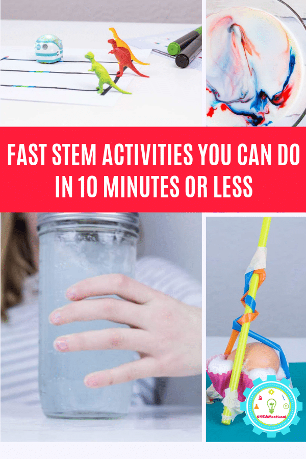 Easy STEM activities are lots of fun. But you don't need days for these quick STEM projects. These quick STEM activities take 10 minutes or less for easy STEM challenges! Quick STEM challenges are the perfect way to teach STEM fast, and without the hassle. #teachingstem #stemactivities #stemed #stem #steamactivities #scienceteacher #science