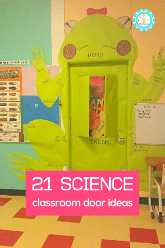 Get inspired for the new school year with these clever science door decorating ideas for elementary and middle school. #classroomdecorating #classroomideas #scienceclass #stemed #stemactivities #teaching #teachingideas