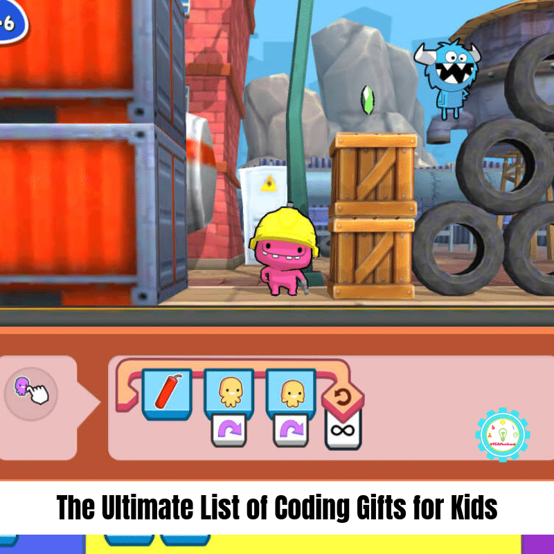 """Collage of coding toys for kids that says """"the ultimate list of coding games for kids"""""""