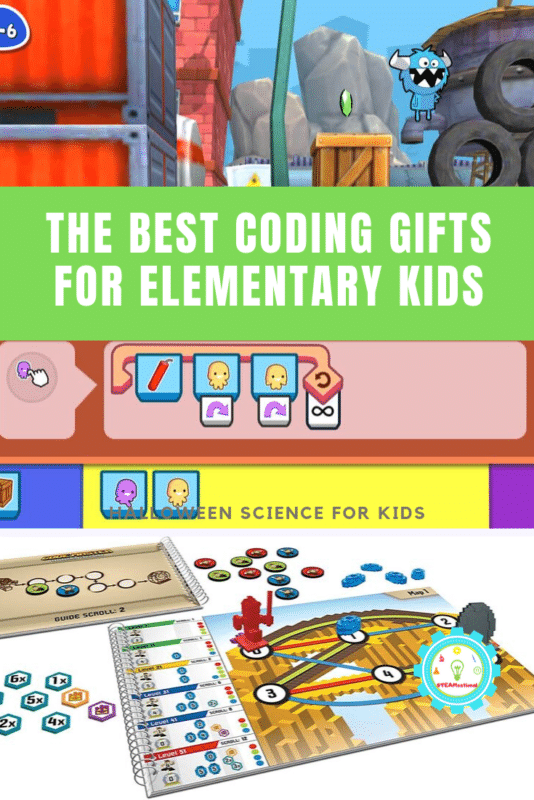 """Collage of coding toys for kids that says """"the best coding gifts for elementary kids"""""""