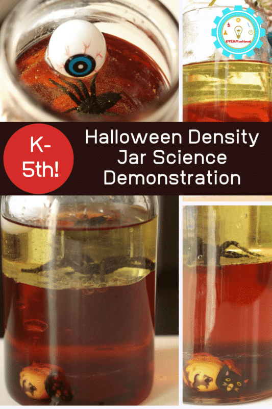 This Halloween density jar is a simple science experiment kids will love and shows how density in a jar illustrates liquid density.