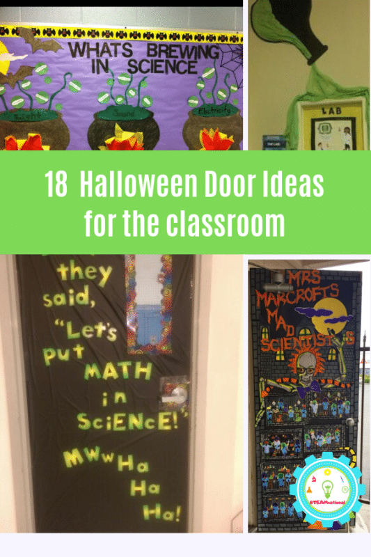 t inspired with these science door decorating ideas for Halloween with these clever science-themed Halloween classroom doors. #halloween #teaching #halloweendecorating #stemed #scienceteacher