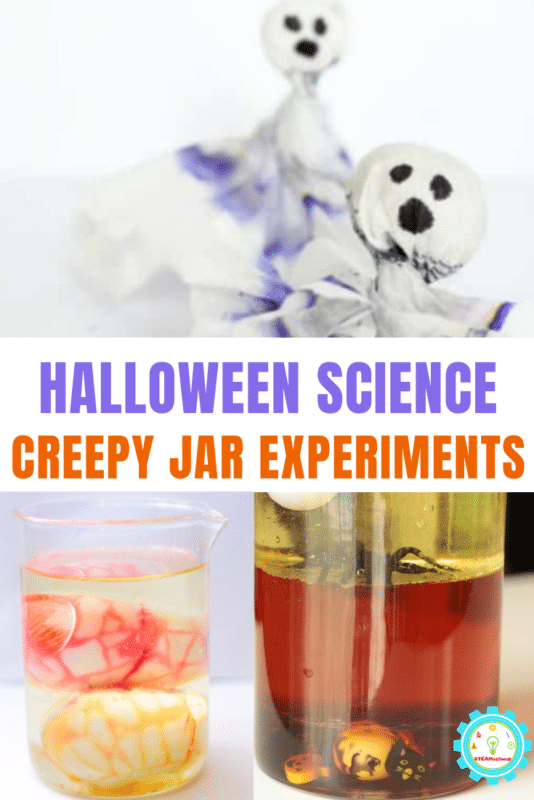 """halloween science experiment collage that says """"halloween science creepy jar experiments"""""""