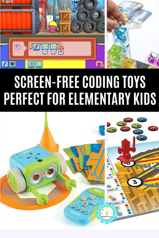 """Collage of coding toys for kids that says """"screen-free coding toys perfect for elementary kids"""""""