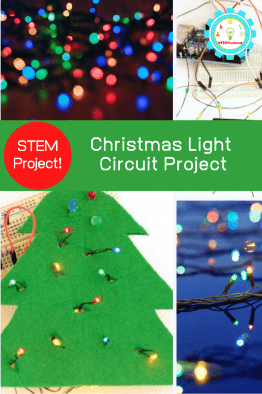 Looking for a fun Christmas light STEM project? Middle schoolers and teens will have a blast with the Christmas Light Circuit Project.