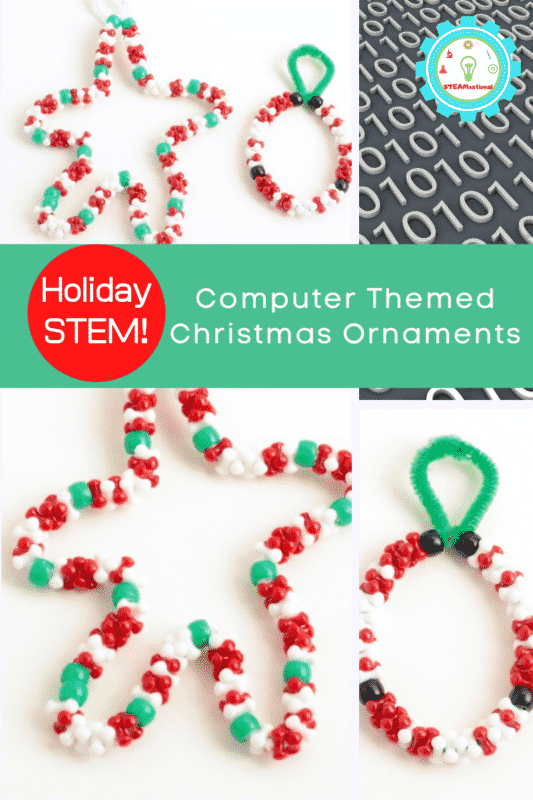 Make binary code Christmas ornaments with holiday messages! Learn how to say Merry Christmas in binary and more in this fun STEM lesson!