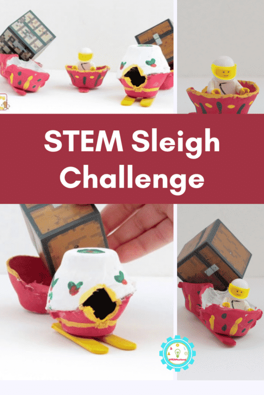 Become a Christmas engineer with this simple sleigh building challenge using egg cartons! Kids will love this Santa sleigh STEM challenge!