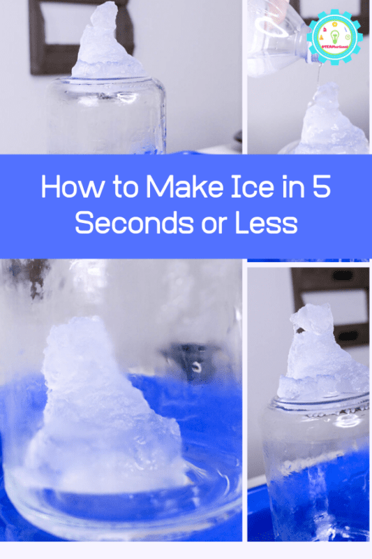 Want to know how to make ice in 5 seconds or less? The instant ice science experiment has the secrets! This super fun winter science experiment is a blast for kids. #stemactivities #stemed #winteractivities #scienceexperiments