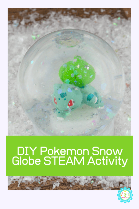 Love pokemon? Love STEAM activities? Kids will have a blast making this Pokemon snow globe. Turn it into a snow globe science project by adding STEAM elements! #steam #stemed #stemactivities #pokemon