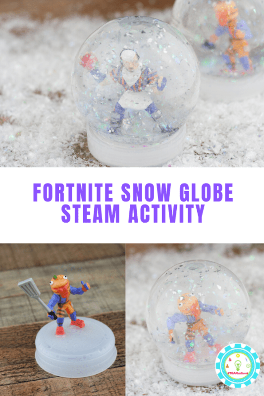 Love Fortnite? Love snow globes? Combine these interests with this super fun snow globe STEAM activity!  Make your own snowglobe and learn! #steamactivities #stemed #stemactivities #fortnite #winteractivities