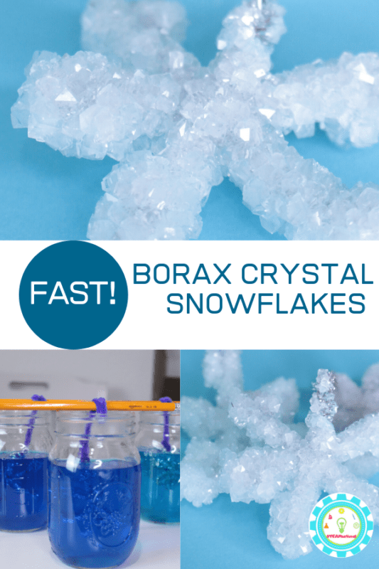 STEM activities for kids should be fun. In this experiment, kids can learn how to make super fast borax crystal snowflakes!
