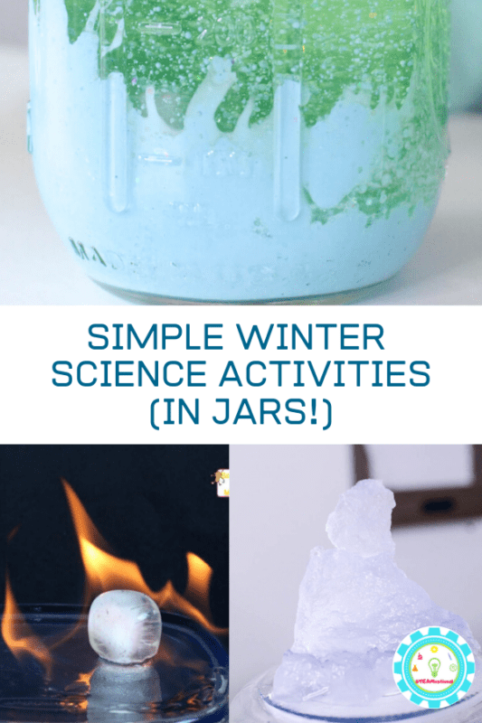 winter science in jars