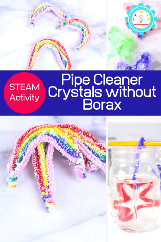 Today, we're bringing a twist on how to make crystals without borax by making these fun salt crystal rainbows!