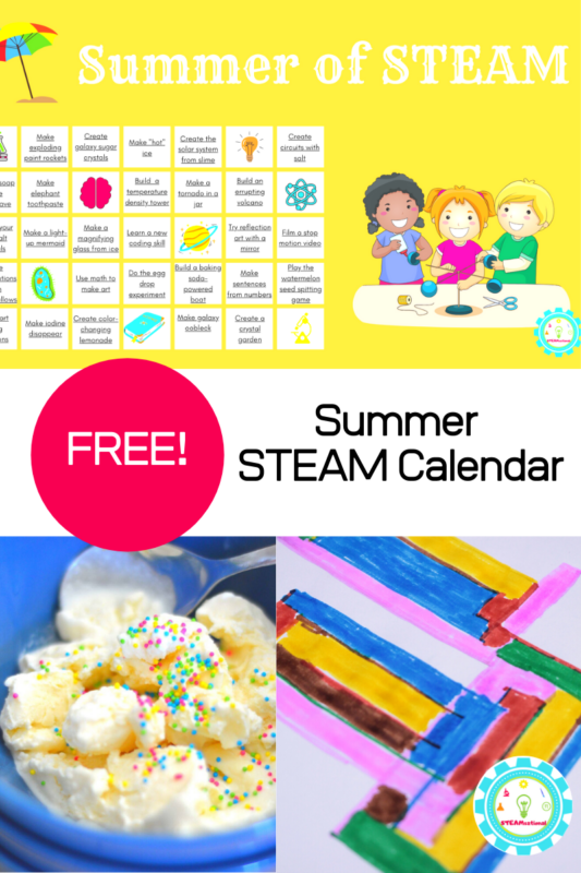 Looking for a summer STEM calendar? This summer STEM activity calendar has over 30 projects to transform your summer into a summer of STEAM!