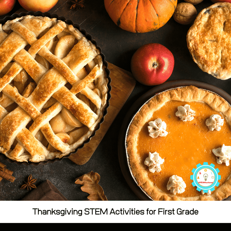 This list of Thanksgiving STEM activities for 1st grade is designed to be done in the classroom or at home during Thanksgiving break!