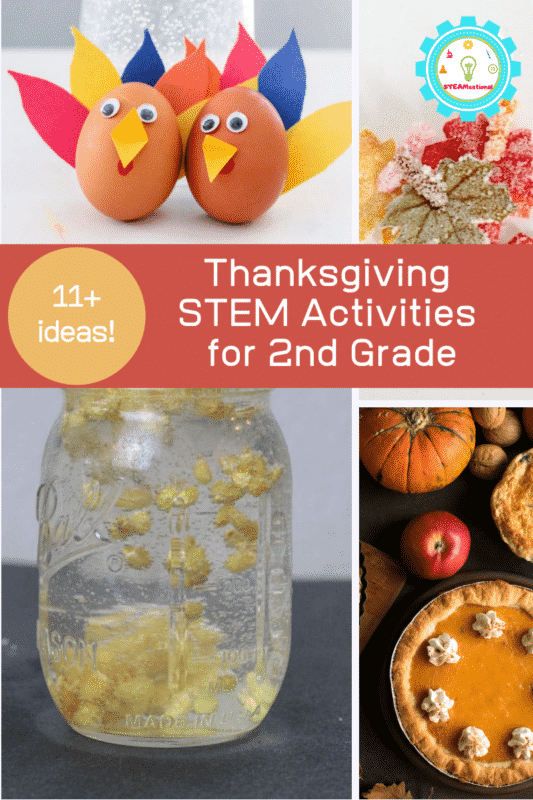 These Thanksgiving STEM activities for 2nd grade are uniquely suited for the likes and interests of 2nd grade students, or for 2nd-grade kiddos on Thanksgiving break.