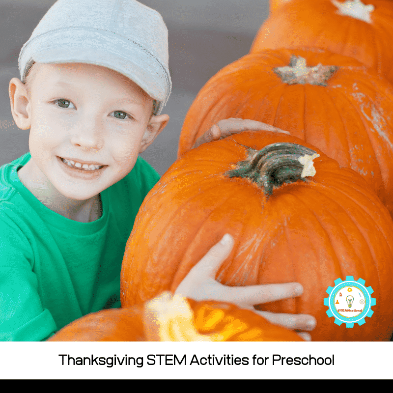 Thanksgiving science activities for preschoolers are tons of fun to try, because preschoolers are naturally curious! These preschool Thanksgiving STEM activities and Thanksgiving STEM activities for preschoolers are perfect for preschool-aged learners.