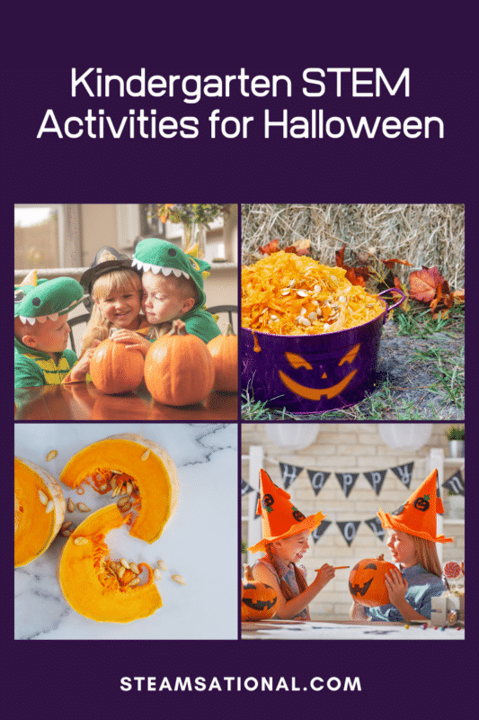 Halloween STEM activities for kindergarten are a fun way for kinder kids to explore science, technology, engineering, and math during Halloween!