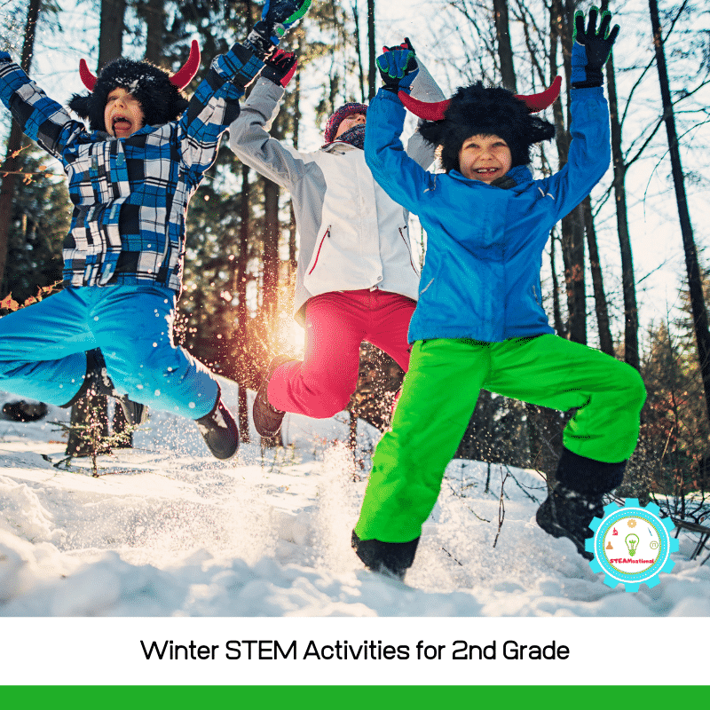 Try these winter stem activities for 2nd grade with your second grade classroom, after-school STEM class, homeschool group, or just for fun at home with your 7-9 year olds! It gives a fun wintery twist to basic STEM activities for kids.