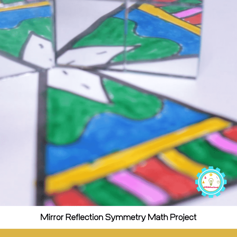 If you're looking for a fun way to help kids learn symmetry in a fun way and learn a bit about math at the same time, then this mirror reflection symmetry math project is for you!