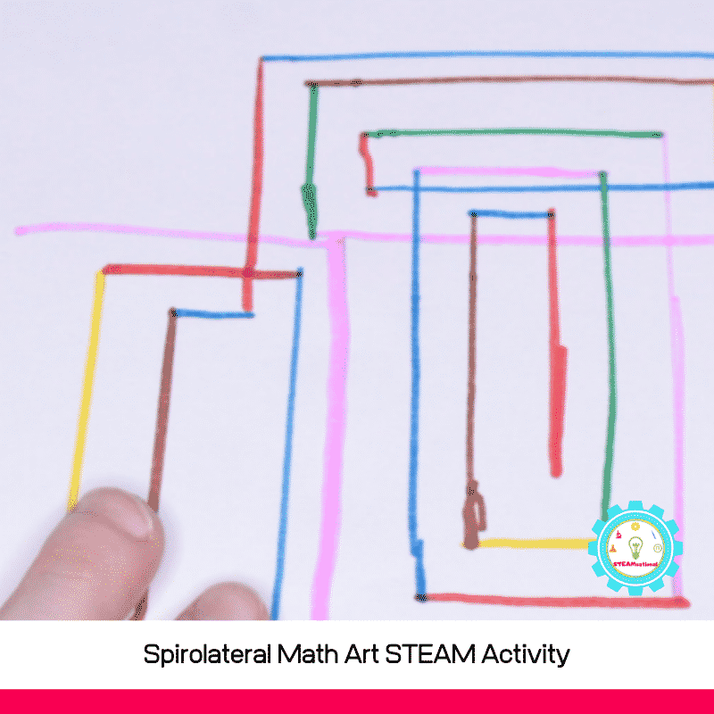 This spirolateral math art STEAM activity is a fun way to bring art and math together! Hands on math STEAM activities are tons of fun!