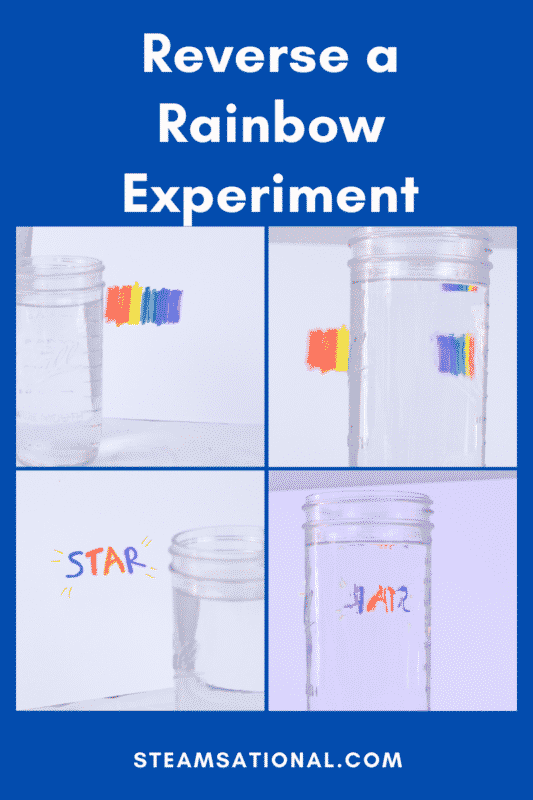 Flip a rainbow using science! The light refraction science experiment is simple, but it illustrates a scientific concept in an easy-to-understand way.
